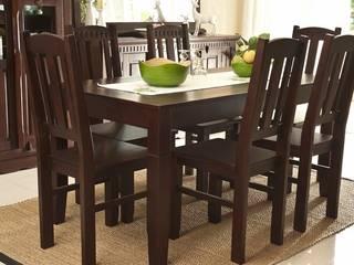 Essgruppe 160x85 Alicante - Esstisch & 6 Stühle - Pinie teilmassiv - dunkelbraun - gebeizt & lackiert:   von Moebelkultura.DE