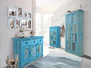 Dielenset 3-Teilig  Aqua - echt Altholz - blue washed - lackiert:   von Moebelkultura.DE