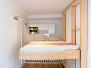 Studio à Paris – Rénovation complète – Optimisation d'espace Cuisine minimaliste par mon concept habitation Minimaliste