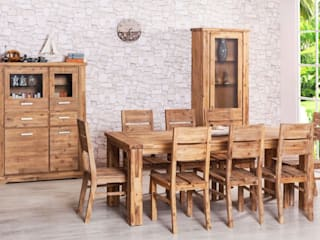 Essgruppe 200/250 x 90 ausziehbar + 8 Stühle Colorado massiv Holz Esszimmergarnitur:   von Moebelkultura.DE