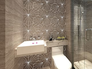 Water Jet Mosaics in Various China Projects ShellShock Designs Baños modernos Azulejos Multicolor