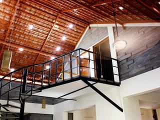 Interlock House BETWEENLINES Country style corridor, hallway& stairs