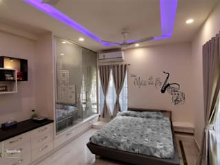 INDEPENDANT HOUSE DESIGNED IN A MINIMALISTIC ORNAMENTAL STYLE,INDEPENDENT HOUSE AT HYDERABAD Modern style bedroom by KREATIVE HOUSE Modern