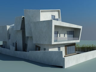 Proposed residence for Mr.Nishanth at ECR, Chennai Offcentered Architects Modern houses Concrete Grey