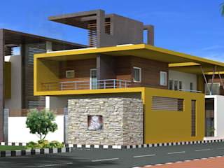Proposed residence for Mr.R.Ramesh at Neyveli Offcentered Architects Minimalist houses