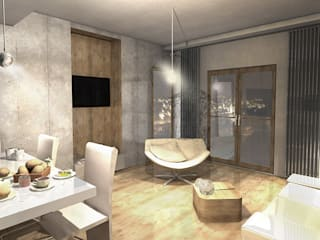 Apartament dla singla: styl , w kategorii Salon zaprojektowany przez Studio Projektowe Kreatura