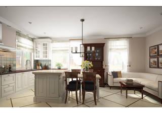 Дизайн интерьера коттеджа с бильярдной Кухни в эклектичном стиле от Альбина Романова Эклектичный