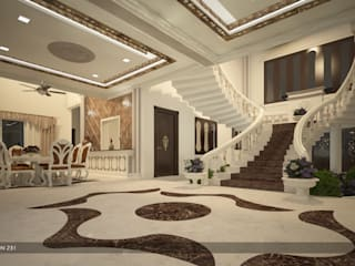 Asian style corridor, hallway & stairs by Premdas Krishna Asian