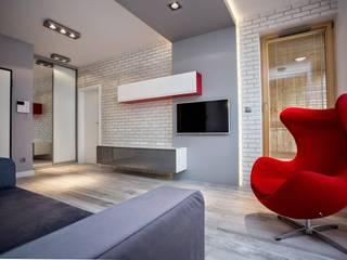 Mieszkanie w Browarze Lubicz - Kraków Nowoczesny salon od Lurvig Nowoczesny