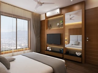 DR. BHAVESHBHAI CHUAHAN RESIDENCE:  Bedroom by INCEPT DESIGN SERVICES
