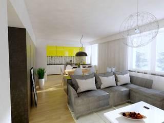 Salon w mieszkaniu w Kłobucku: styl , w kategorii Salon zaprojektowany przez AWX2 ARCHITEKCI