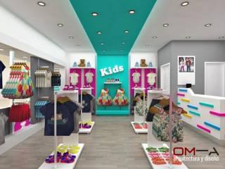 Diseño interior de tienda de ropa para niños:  de estilo  por om-a arquitectura y diseño