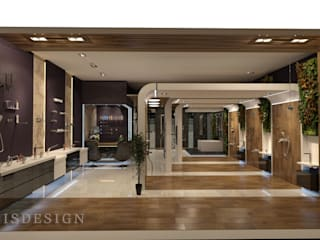 ISDesign group s.r.o. Minimalist offices & stores Ceramic Brown