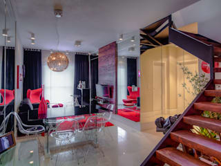 VL Arquitetura e Interiores Modern living room Red