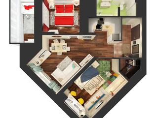 Визуализации проекта г.Сургут ул. Игоря Киртбаяд.37 Стены и пол в стиле минимализм от Alyona Musina Минимализм
