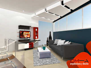 Diseño interior de sala y cocina: Salas / recibidores de estilo minimalista por om-a arquitectura y diseño