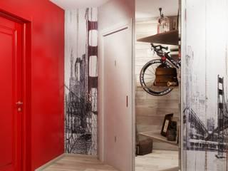 Студия дизайна ROMANIUK DESIGN ทางเดินในสไตล์อุตสาหกรรมห้องโถงและบันได Beige