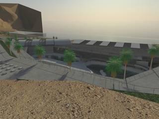 Vista exterior desde la plataforma pública hacia los tanques del Acuario.: Concesionarios de estilo  de Interior + Exterior