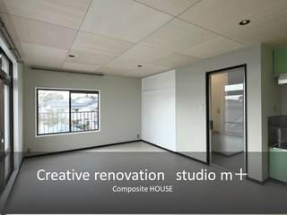 studio m+ by masato fujii Salones de estilo escandinavo Gris