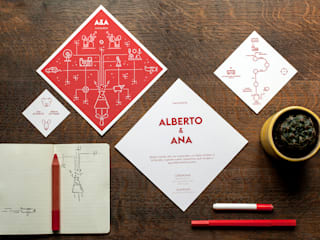 Boda Ana y Alberto Estudios y despachos de estilo moderno de Invita con rombo Moderno