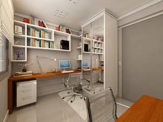 Escritório para casal: Escritórios  por Débora Pagani Arquitetura de Interiores,Moderno