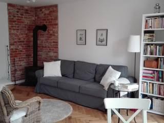 Mieszkanie 52 m kw. Warszawa Mokotów Skandynawski salon od Simon Frost Skandynawski