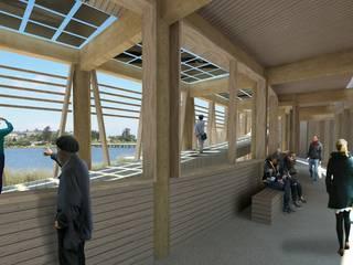Proyecto de título, estudiante de arquitectura Pasillos, vestíbulos y escaleras modernos de 3DT Render Moderno