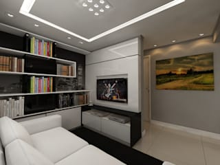 Apartamento bairro Tristeza: Salas de estar  por Débora Pagani Arquitetura de Interiores,Eclético