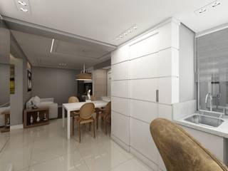 Apartamento bairro Tristeza: Terraços  por Débora Pagani Arquitetura de Interiores,Eclético