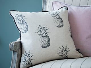 Linen Pineapple Cushion:  Living room by rigby & mac