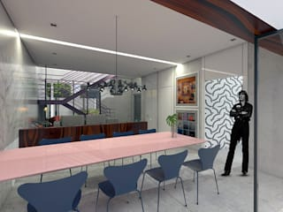 ZEP Arquitetura Ruang Makan Modern Beton Grey