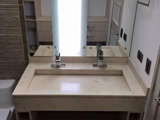 Detalle de lavamanos doble con mueble inferior: Baños de estilo  por ALSE Taller de Arquitectura y Diseño,