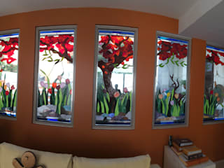 Bugambilia y Tulipanes: Salas de estilo moderno por Vitrales Emplomados Vidrio y Plomo