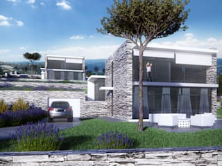 Ville a Sanremo Case moderne di Realistic Art Render Moderno