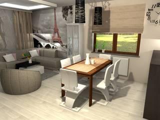 Kuchnie otwarte na salon Nowoczesny salon od BasiaProjekt Nowoczesny