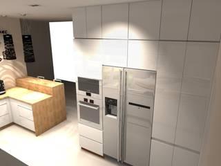 Kuchnie otwarte na salon Nowoczesna kuchnia od BasiaProjekt Nowoczesny