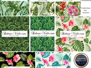 Architecte décorateur d'intérieur, d'extérieur textile style exotique: Rideau, double rideaux à feuilles plantes fleurs faune tropical:  de style tropical par Rideau-voile, Tropical