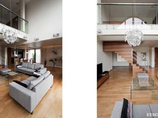 Projekt wnętrz domu w Lędzinach Minimalistyczny salon od Mono architektura wnętrz Katowice Minimalistyczny