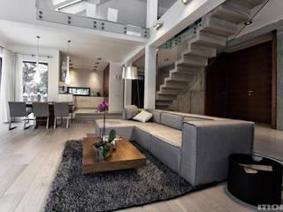 Projekt wnętrz domu w Bukownie: styl , w kategorii Salon zaprojektowany przez Mono architektura wnętrz Katowice