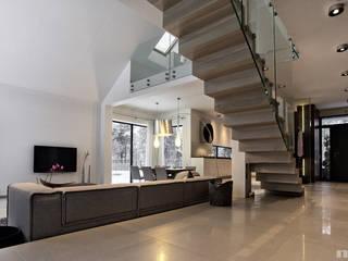 Projekt wnętrz domu w Bukownie Nowoczesny salon od Mono architektura wnętrz Katowice Nowoczesny