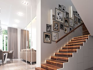Modern Corridor, Hallway and Staircase by Bronx Modern