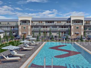 Aerial View of 3D Resort Exterior Architectural Design Modern Oteller Yantram Architectural Design Studio Modern