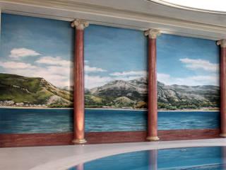 ściana w pomieszczeniu basenowym: styl , w kategorii  zaprojektowany przez Artystyczne Malowanie Ścian