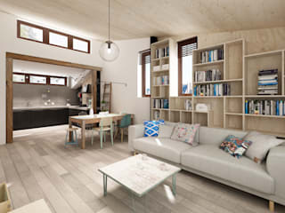 Nowe poddasze na Starej Ochocie Skandynawski salon od Krystyna Regulska Architektura Wnętrz Skandynawski