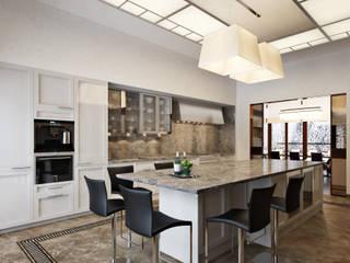 Загородный дом в Переделкино Кухня в стиле модерн от Архитектурное бюро Бахарев и Партнеры Модерн