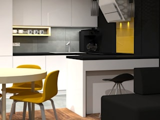 projekt wnętrz, mieszkania dla audiofila easy project Nowoczesna kuchnia