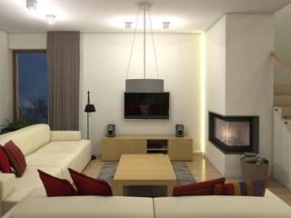 projekt wnętrz domu jednorodzinnego q193 easy project Nowoczesny salon