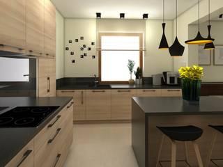 projekt wnętrz domu jednorodzinnego q193 easy project Nowoczesna kuchnia