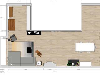Styling woonkamer 2onder1kap woning Heemstede, industrieel met frisse kleuren. Industriële woonkamers van Studio Mind Industrieel