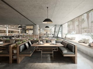 Design and 3D rendering of a restaurant in Hurghada: Bares y Clubs de estilo  de Berga&Gonzalez - arquitectura y render